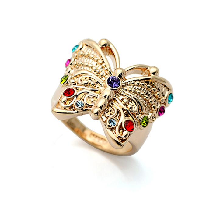 кольцо бабочка с кристаллами